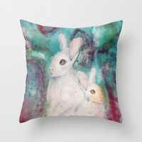 rabbits Throw Pillows featuring rabbits by Curtis Reynolds