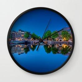 Amstel river in Amsterdam Wall Clock