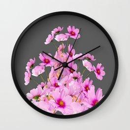 FUCHSIA PINK COSMOS GREY FLORAL DESIGN Wall Clock