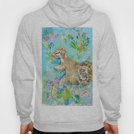 Storybook Squirrel Love with blue background Hoody