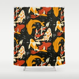 Koi in Black Water Shower Curtain