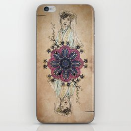 Arabesque Deck of Cards Queen Clubs iPhone Skin