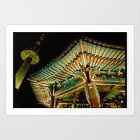 korea Art Prints featuring korea by iamkin