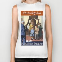 philadelphia Biker Tanks featuring PHILADELPHIA/vintage by Kathead Tarot/David Rivera