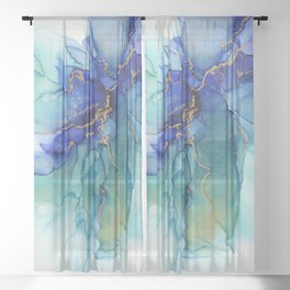 Electric Waves Violet Turquoise - Part 2 Sheer Curtain