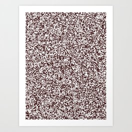 Tiny Spots - White and Dark Sienna Brown Art Print