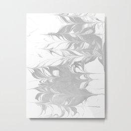 Marble grey 3 Suminagashi watercolor pattern art pisces water wave ocean minimal design Metal Print