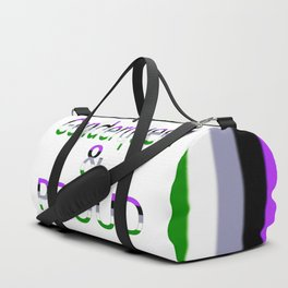 Genderqueer and Proud (white bg) Duffle Bag