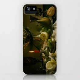 Still life with metal pots and fruits iPhone Case