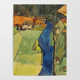 "Egon Schiele ""Stadt am blauen Fluss (Town on the blue river)"" Poster"
