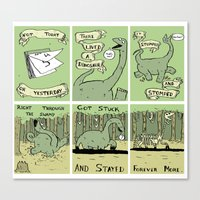 poem Canvas Prints featuring Dinosaur Poem by MadeleineFlores