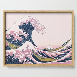 The Great Pink Wave off Kanagawa Serving Tray