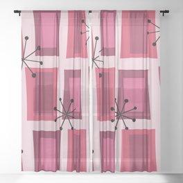 Mid Century Modern Art 'Wonky Doors' Pink Purple Sheer Curtain