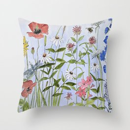 Wildflower Botanical Garden Flower Blue Skies Watercolor Throw Pillow