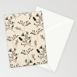 Ivory Cream and Bluebells and Bluebirds Floral Pattern Flowers in Blue and Bark Brown Stationery Cards