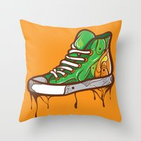 sneaker Throw Pillows featuring Green Sneaker by ArievSoeharto