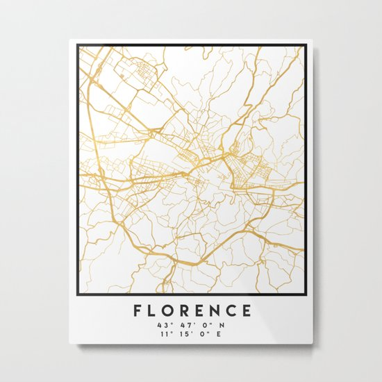 FLORENCE ITALY CITY STREET MAP ART Metal Print