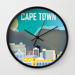 Cape Town, South Africa - Skyline Illustration by Loose Petals Wall Clock