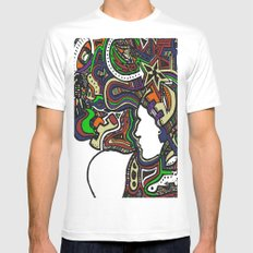 Muted Color Techno MEDIUM White Mens Fitted Tee