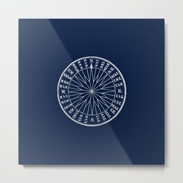 Nautical Compass Minimalist Vintage Maritime Illustration in Navy Blue and White Metal Print