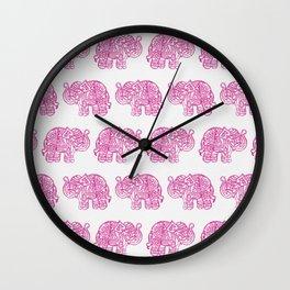 Pink Indian Woodblock Elephants Wall Clock