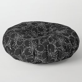 Cherry Blossom Black on White - In Memory of Mackenzie Floor Pillow