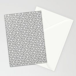 Gray and White Greek Key Pattern Stationery Cards