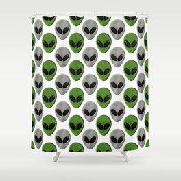 Alien Face Polka Dot Pattern Shower Curtain