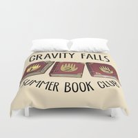 gravity falls Duvet Covers featuring Gravity Falls: Summer Book Club by pondlifeforme