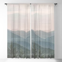 Smoky Mountain Pastel Sunset Sheer Curtain