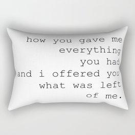 """charles bukowski """"raw with love"""" Rectangular Pillow"""