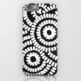 White on black brushed circles on textured cloth - abstract geometric pattern iPhone Case