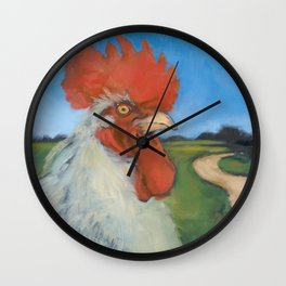 Rooster Crosses the Road Wall Clock