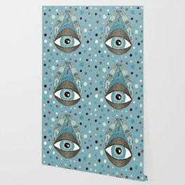 pysanky eye egg, blue green brown white black Wallpaper