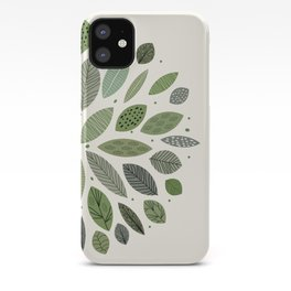 Mid-Century Green Leaves iPhone Case