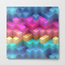 Cubed Rainbow Metal Print