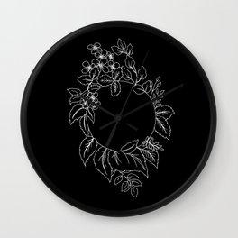 Black Floral Circle Wall Clock