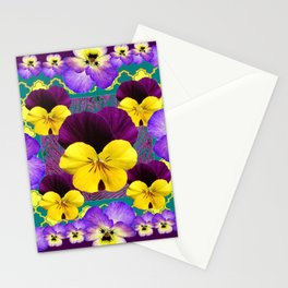 PURPLE PANSIES GARDEN ABSTRACT MODERN A Stationery Cards