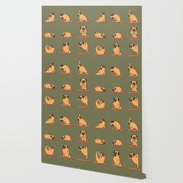 Pug Yoga In Khaki Wallpaper