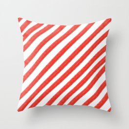 Red and White Painted Diagonal Stripes Pattern Throw Pillow