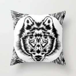 Wood Wolf Throw Pillow
