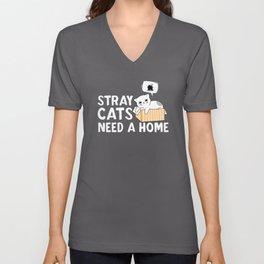 Stray Cats Need A Home Too Unisex V-Neck