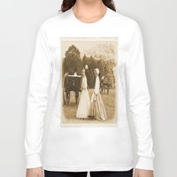 battlefield Long Sleeve T-shirts featuring Strolling on the Battlefield by Frankie Cat
