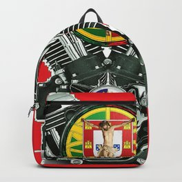 Portuguese Christian Motorcyclist. Backpack