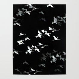 Abstract Black and White Crane Flock #decor #society6 #buyart Poster
