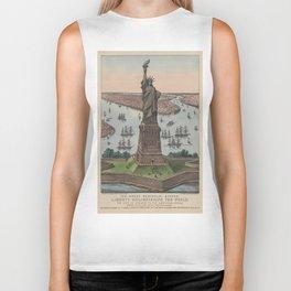 Vintage NYC & Statue of Liberty Illustration (1885) Biker Tank