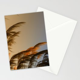 Sunset in autumn. Pampa grass Stationery Cards