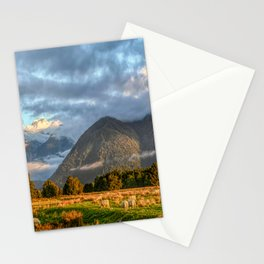 New Zealand South Island Landscape With Sheep Panorama Stationery Cards