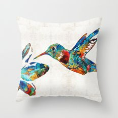 Colorful Hummingbird Art by Sharon Cummings Throw Pillow