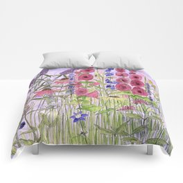 Wild Garden Flowers and Blue Sky Whimsical Art Comforters